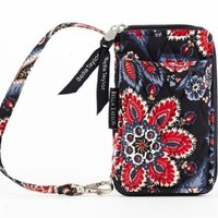 Quilted Purse, Handbag, Wallet - Blues, Red, White, and Tan Floral Serafina Wristlet Wallet