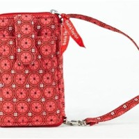 Quilted Purse, Handbag, Wallet - Coral, Red, Black, and White Patchwork Poppy Plaid Wristlet Wallet