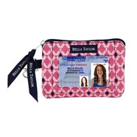 Quilted Purse, Handbag, Wallet - Navy, White, and Pink Carlisle ID Please