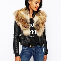 River Island Biker Jacket With Faux Fur