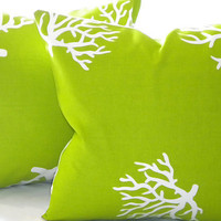 Decorative Chartreuse/ White Coral indoor/outdoor beach - &quot;20 x 20&quot;