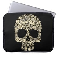 Floral Sugar Skull Neoprene Laptop Sleeve