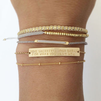 Personalized Gold Bar Bracelet / Inspiration, Name Bar Bracelet / Personalized Jewelry. The Large Legacy Bar Bracelet, Layered + Long LB104