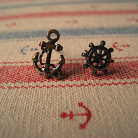 Nautical Earrings (Anchor Earring) (Wheel Earring) - Antiqued Copper Color