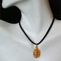 Real Pine Cone Leaf Necklace, little alder cone,  24K gold dipped jewelry, nature's leaves