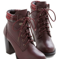 ModCloth Street Style Fashion Show Bootie in Wine