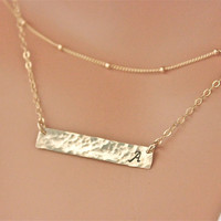 Layered Gold Bar Necklace set - Personalized - 14k gold filled - Mothers Day Sale