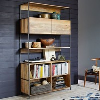 "Rustic Modular 49"" Open + Closed Storage"