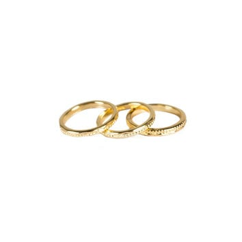 TEXTURED 3 BAND KNUCKLE RING SET - GOLD