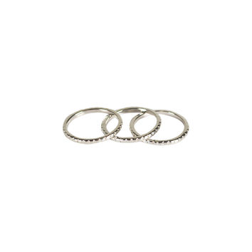 TEXTURED 3 BAND KNUCKLE RING SET - SILVER