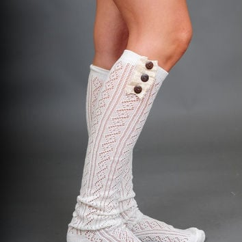 Button and Lace Boot Socks in IVORY