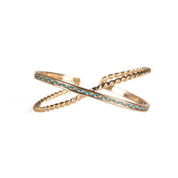 ADJUSTABLE X YARN GOLDEN CUFF BRACELET - TURQUOISE/GOLD