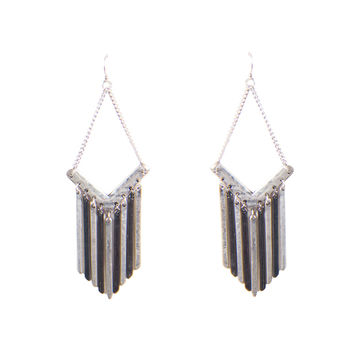 DOWNRIGHT METAL FRINGE EARRINGS - ANTIQUE SILVER
