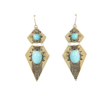 AZTEC STONE POINTED EARRINGS - TURQUOISE