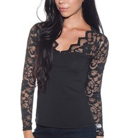 Romance in the Evening Floral Lace Sleeve Top - Black