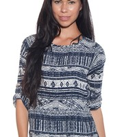 On a Roll Tribal Print Rolled Sleeve Top - Navy