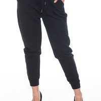 Quilt Construction Quilted Terry Joggers - Black