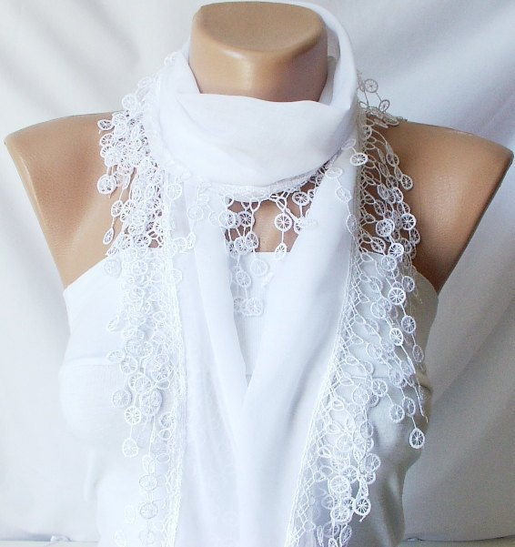 White, Snow white Cotton Scarf with Lace