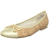 Annie Shoes Women`s Cybil Ballerina Flat,Cork/Gold,9 W US