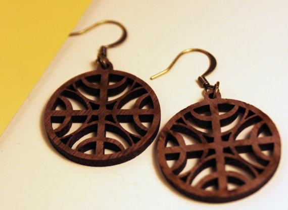 brown oak wooden mandala earrings