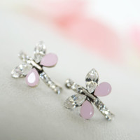 butterfly post earrings matt soft pink clear crystal swarovski rhinestone post earrings wedding bridal jewelry bridesmaid jewelry gifts