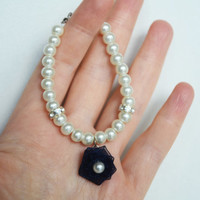 flower girl jewelry pearly bracelet glass ivory or white pearl dark navy blue organza flower wedding jewelry
