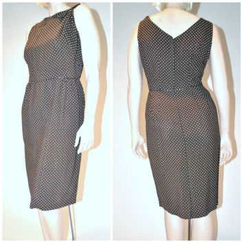 vintage 1950s dress / HOURGLASS brown swiss dot BOMBSHELL mad men fitted 50s vintage sheath dress medium