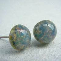 Blue Opal Studs - Stud Earrings - Green Stud Earrings