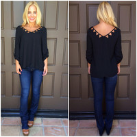 On The Edge Cutout Blouse - BLACK