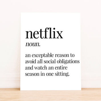 Netflix Definition Printable Art Home Decor Typography Poster Dorm Decor Apartment Decor Poster