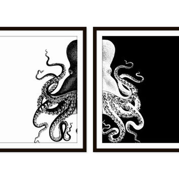 Octopus art print beach decor nautical decor sea ocean set of two