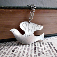 Peace Dove Necklace - Silver Bird Peace Symbol