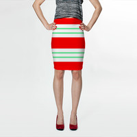 Red and Aqua Stripes by Kat Mun (Fitted Skirt)