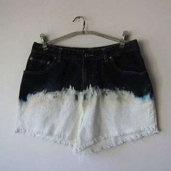 Route 66 High Waist Denim Shorts -- Distressed, Frayed, Ripped // Bleached Dip Dye Ombre -- Size 12, Grunge Revival Style