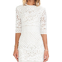 Lover Libra Fitted Dress in Ivory