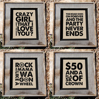 Country songs quote prints set - 4 - 8x10&quot; - Typographic prints