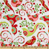 Michael Miller Christmas Pretty Bird Santa Red - Discount Designer Fabric -  Fabric.com