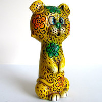 Vintage 1970s Cheetah Paper Mache Bank