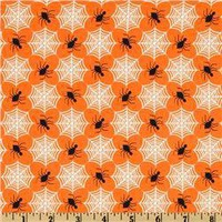 Frank-n-Friends Spiders Orange - Discount Designer Fabric -  Fabric.com