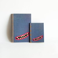 SET OF 2 : Kraft Paper &amp; Saddled Stitched Notebooks - Blue Monster