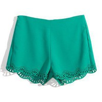 Scrolled Cut Out Shorts in Green - New Arrivals - Retro, Indie and Unique Fashion