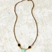 Lux Revival Faux Deco Glass Scarab Necklace - Urban Outfitters