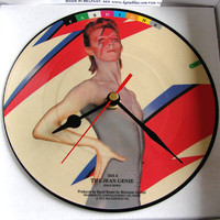 "David Bowie Vinyl Record CLOCK made from recycled 7"" Picture Disc The Jean Genie. Boxed."