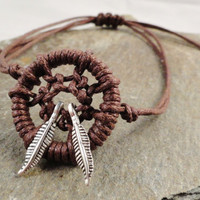 Brown Dream Catcher ANKLET with Feathers Lots of Colors Available