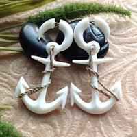 "Fake Gauge Earrings, ""Nautical Anchor"" Hand Carved, Bone, Naturally Organic"