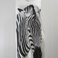 ZEBRA Stripes Animal Fashion Shirt Animal Tank Top Animal Tunic Top Shirt Women Animal Sleeveless Singlet Vest Women White Shirt Size S M