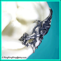 Griffin with wings ear cuff earring. Antiqued silver dragon earcuff for men and women, Left