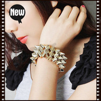Hot Sell Girl Fashion Jewelry Punk Style Spike Hedgehog Rivets Bracelet New Star on eBay!
