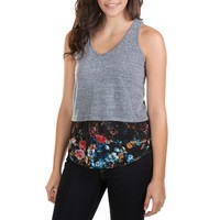Eyeshadow Juniors V-Neck Tank with Chiffon and Lace Details at Von Maur