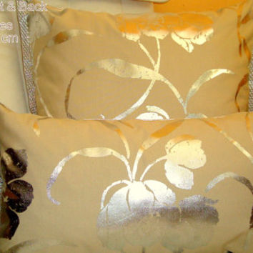 Lumbar silver flower 12x22 pillow cover for chair sofa gift